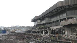 Demolition of County Hall in Cwmbran