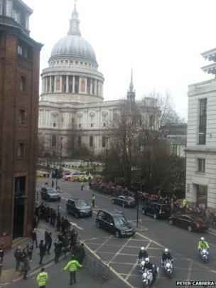 Baroness Thatcher funeral leaving St Paul's Cathedral. Photo: Peter Cabrera