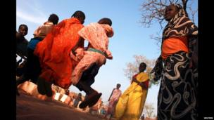 Children from South Kordofan, Sudan, skipping at Yida refugee camp in South Sudan - Wednesday 17 April 2013