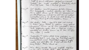 Extract of notes from Maurice Wilkes' log book, copyright University of Cambridge