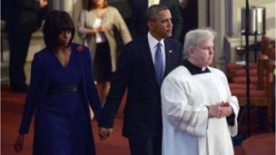 President Obama and First Lady Michelle Obama arrive at the 'Healing Our City- An Interfaith Service' in Boston.