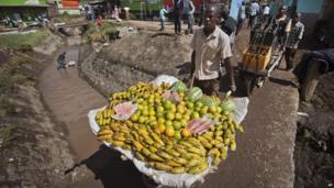 A wheelbarrow of fruit in Narok, Kenya - Thursday 18 April 2013