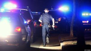 Police in Watertown, Massachusetts, on 19 April 2013