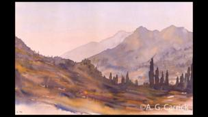 Cypress Trees and Mountains in Turkey painted in 1999.