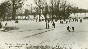 Skating on the lake at Abington Park.