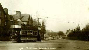 This postcard shows the tram terminus for Abington Park.