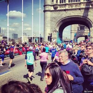 Runners cross Tower Bridge. Photo: Jim Lucas