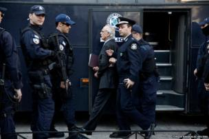 Akis Tsohatzopoulos arrives at court in Athens