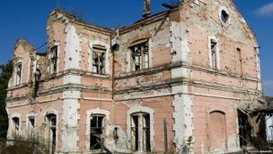 A war damaged building in Vukovar, eastern Croatia. The city was the scene of bitter fighting during the country's war of independence when ethnic Serbs, with the backing of neighbouring Serbia, resisted Zagreb's move to break away from Yugoslavia.