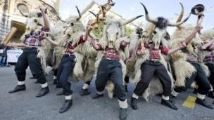 This series of photographs was taken by Rudolf Abraham, an award-winning photographer and writer specialising in Croatia and Eastern Europe. Here, Zvoncari or 'bell ringers', at Rijeka Carnival, the second largest Shrovetide Carnival in Europe, traditionally go through villages before Lent, to drive out evil spirits which might have settled there during the winter months.