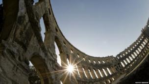 The exceptionally well preserved Roman amphitheatre at Pula, Istria, in western Croatia. Dating from the 1st century AD, it is one of the largest surviving such monuments in the world.