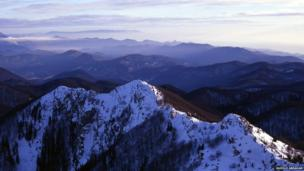 A view of Croatia's Risnjak national park in winter, part of the Dinaric Alps which stretch east to Serbia and as far south as Montenegro. This view is taken from the highest peak, Veliki Risnjak, which is 1,528m (yards) high.
