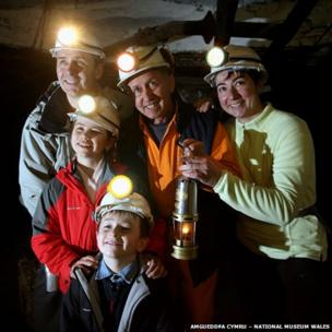 Visitors with a miner guide