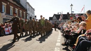 Soldiers parading