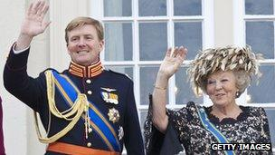 Prince Willem-Alexander and his mother, Queen Beatrix