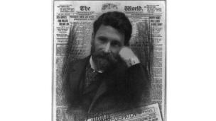 Joseph Pulitzer, superimposed over his newspaper