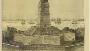 A drawing of the Statue of Liberty's base and pedestal