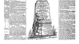 An image of the Statue of Liberty subscription campaign from The New York World newspaper