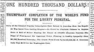 An image of Statue of Liberty subscription campaign from the New York world newspaper