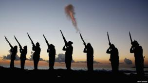 Members of the Albert Battery shoot a volley of fire during the ANZAC dawn service at Currumbin Surf Life Saving Club on 25 April 2013 in Gold Coast, Australia