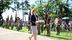 Prime Minister of Australia Julia Gillard lays a wreath during a commemorative service on 25 April 2013 in Townsville, Australia