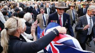 War veterans make their way down Bathurst Street during the ANZAC Day parade on 25 April 2013 in Sydney, Australia