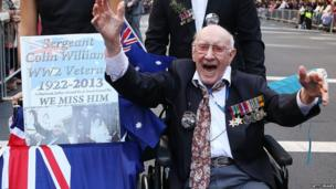 A war veteran makes his way down Bathurst Street during the ANZAC Day parade on 25 April 2013 in Sydney, Australia