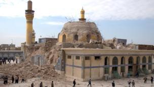 The damaged Askariya shrine following an explosion in Samarra, 95 km (60 miles) north of Baghdad