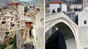 People cross over on a bridge in Mostar city in June 1993 (top), and the same location is seen on 23 February 2013