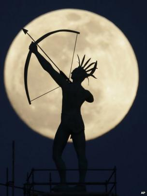 Full moon rises behind the Ad Astra statue of the Kansas State Capitol dome (24 April 2013)