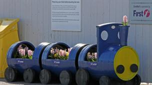 Train filled with flowers