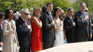 From left: Condoleezza Rice, Dick Cheney, Jenna Bush Hager, Henry Hager, Barbara Bush, Miky Fabrega and Jeb Bush at the opening of the George W Bush Library in Dallas, Texas (25 April 2013)