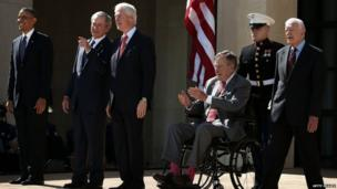 From left: President Barack Obama and former presidents George W Bush, Bill Clinton, George H W Bush and Jimmy Carter at the opening of the George W Bush Library in Dallas, Texas (25 April 2013)