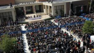 An aerial view of the crowd at the opening of the George W Bush Library in Dallas, Texas (25 April 2013)
