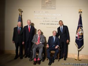 President Barack Obama (right) and former US presidents, Jimmy Carter, Bill Clinton, George HW Bush and George W Bush