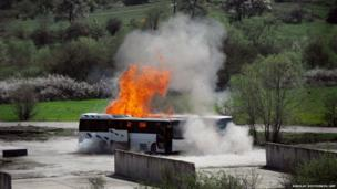 Two buses explode
