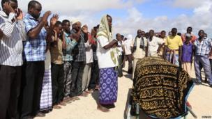Prayers at the funeral for Somali journalist Mohamed Ibrahim Rageh - Monday 22 April 2013