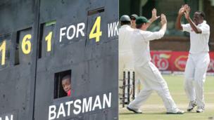 L: Cricket scorer at Harare Sports Club - Thursday 25 April 2013 R: Zimbabwean cricketers Brendon Taylor and Shingirai Masakadza (R) - Friday 19 April 2013