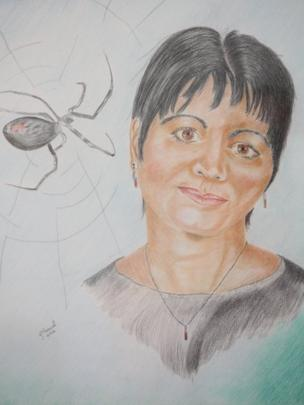 Marilena and the black widow drawing in Divine Wind exhibition