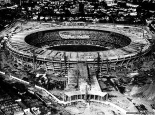 Aerial view of the Maracana Stadium under construction for the 1950 World Cup finals, January 1950