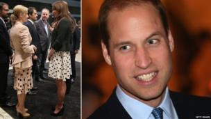 Kate chats to J.K. Rowling (left) and Prince William (right)