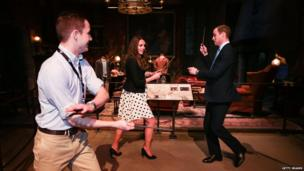 The Duke and Duchess of Cambridge battle with wands