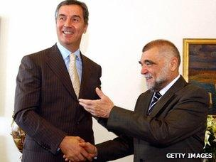 Stipe Mesic (right), Croatia's president until 2010, with Montenegro PM Milo Djukanovic