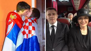 A young Serb and a Croat, cloaked in their respective flags kissing. The Montegrin and Croatian foreign ministers sharing a seat on a bus on their way to Lady Thatcher's funeral.