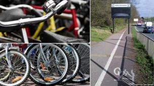 Bicycles and sign across cycle way in Stevenage