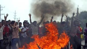 Protest in Dhaka. 27 April 2013