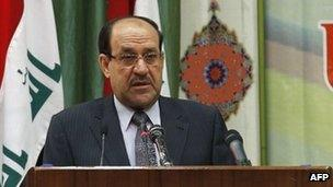 Nouri Maliki addresses the nation during a conference in Baghdad (27 April 2013)