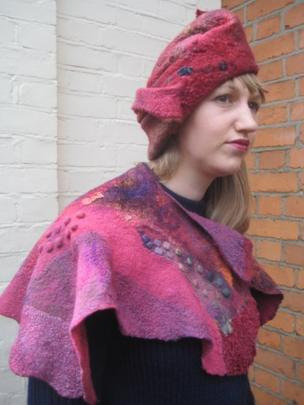 Felt hat and shawl