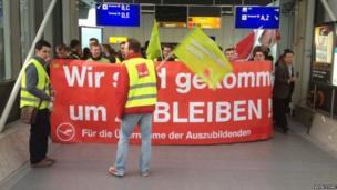 Lufthansa strike at Frankfurt International Airport. Photo: Kevin Stone