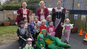 Staff and children at Little Acorns nursery in Gomersal, West Yorkshire, dressed as dragons, knights and princesses for St Georges Day. Photo: Emma Moxon